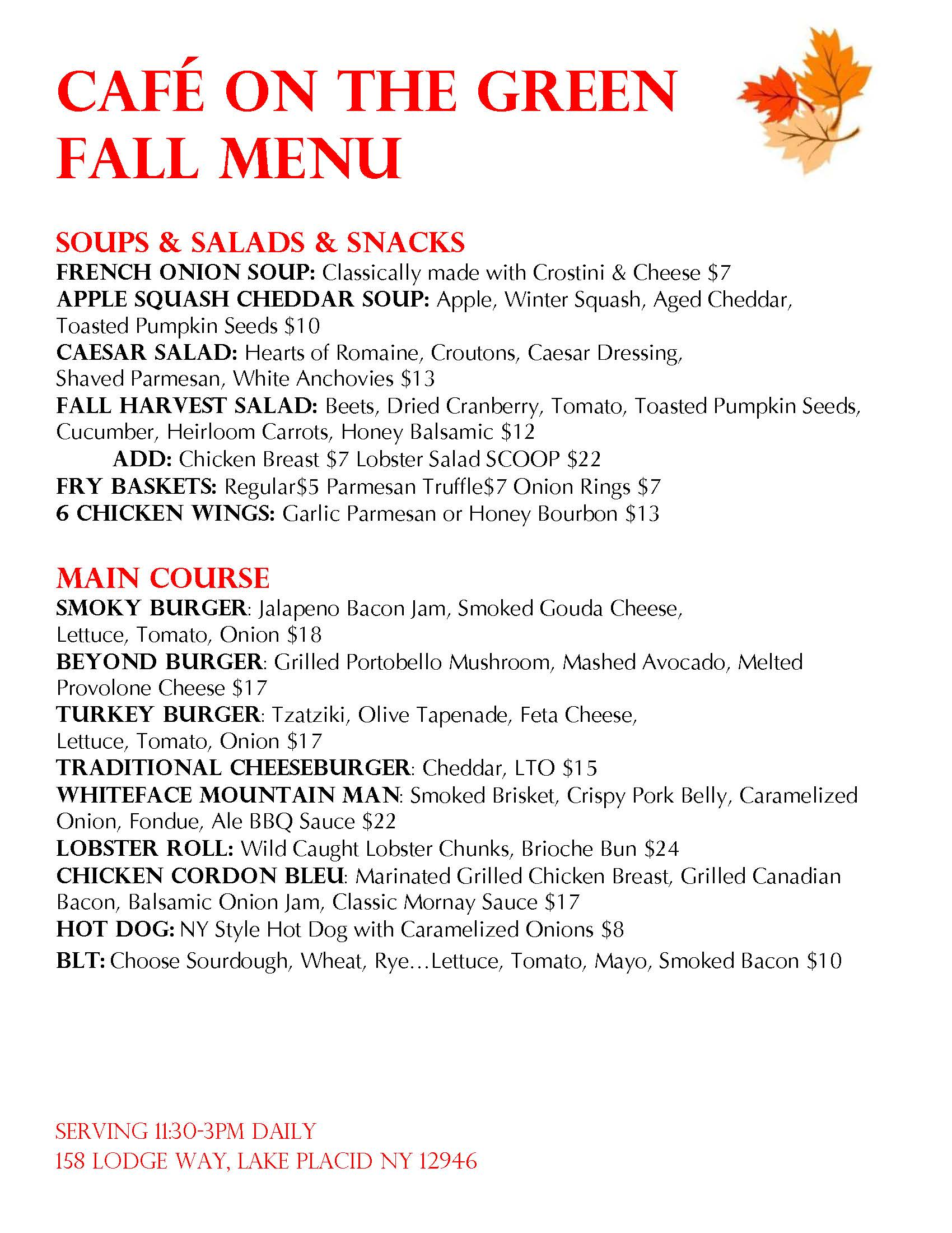 Cafe On The Green at The Whiteface Club & Resort_Fall Menu