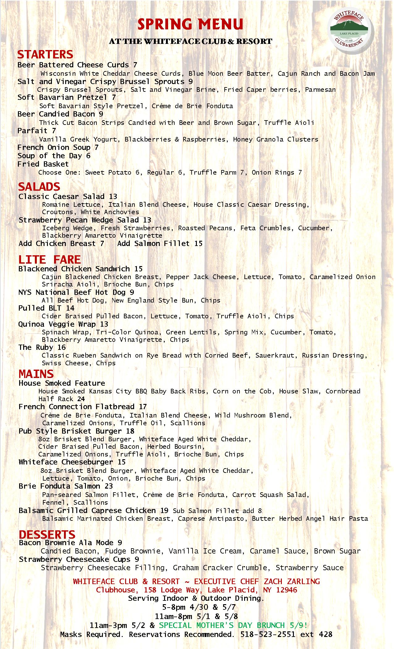 Cafe On The Green Fall Menu